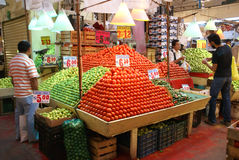 Pyramids of fresh tomatoes Royalty Free Stock Images