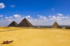 The oldest three great pyramids of gaza in cairo , egypt, stock photos