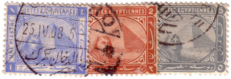 Pyramids of Ghiza stamps c.1897 Royalty Free Stock Photo