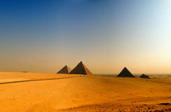 Pyramids of giza 08. The great pyramids of giza in Egypt with cairo in the background Stock Photos