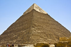 Pyramids of Giza. Details of Egyptian art, pyramid of Chephren Stock Photography