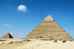 Pyramids of Giza. Beautiful Egyptian pyramids Giza, Khafre's and Menkaure Stock Photography