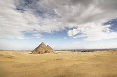 The Pyramids of Giza. As seen from the desert Stock Photo