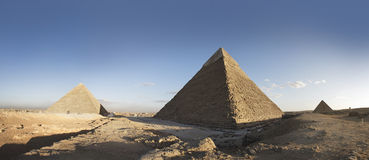 The Pyramids of Giza. Extreme wide angle shot of the Pyramids of giza with the pyramid of Khafre in the centre stock photos