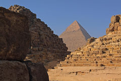 Pyramids of Giza. The Pyramids of Giza near Cairo in Egypt Royalty Free Stock Photos