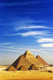 The Pyramids of Giza. Egypt. Cairo - Giza. General view of pyramids from the Giza Plateau (there is three pyramids popularly known as Queens' Pyramids on front royalty free stock photography