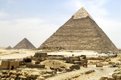 Pyramids in Giza. Giza Pyramids with stones in front stock photos