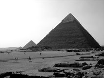 Pyramids of Giza. B&W shot of the three pyramids of Giza in Egypt Royalty Free Stock Photography
