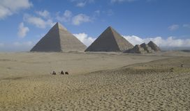 Pyramids at Giza. With sky and clouds in background royalty free stock photography