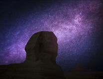 Pyramids in Giza. Astrophotography, night starry sky. pyramids in Giza. Complex of ancient buildings in Egypt stock photography