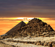 Pyramids at Giza on the background of the Sunset,Cairo, Egypt Stock Photography