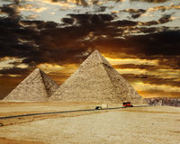 Pyramids at Giza on the background of the Sunset,Cairo, Egypt Royalty Free Stock Photo