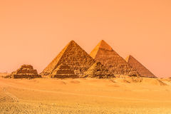 The pyramids of Giza, Cairo, Egypt. Oldest of the Seven Wonders of the Ancient World and the only one to remain largely intact Royalty Free Stock Photos