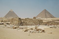 Pyramids of Giza and Cheops in Egypt stock photo