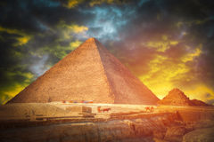 Pyramids in Giza. Complex of ancient buildings in Egypt Stock Photography