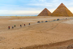 Pyramids of Giza and cyclists Royalty Free Stock Photography