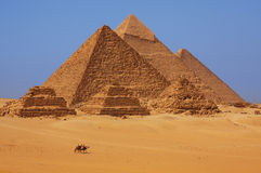 The Pyramids at Giza in Egypt. With people riding camels in the foreground royalty free stock photos