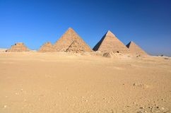 Pyramids at Giza, Egypt. Giza necropolis with the Great Pyramid, Pyramid of Khafre and Pyramid of Menkaure Stock Photo