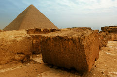 The pyramids at Giza. In Egypt Royalty Free Stock Photography