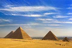 The Pyramids of Giza. Egypt. Cairo - Giza. General view of pyramids from the Giza Plateau (from left: the Pyramid of Chufu /Cheops/, Khafre /Chephren/, Menkaure stock photos