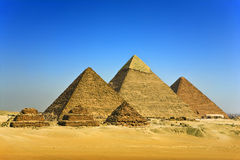 The Pyramids of Giza. Egypt. Cairo - Giza. General view of pyramids from the Giza Plateau (there is three pyramids popularly known as Queens' Pyramids, next in stock image