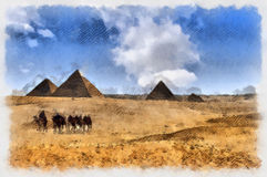 Pyramids of Giza in Egyt Stock Photos