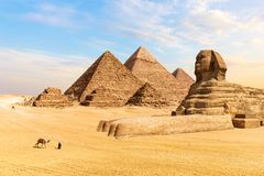The Pyramids of Giza and the Great Sphinx, Egypt stock photo