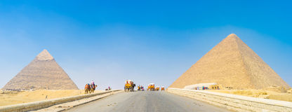 The Pyramids of Giza. Many carriages on the road to the Pyramids, Giza, Egypt Royalty Free Stock Photos