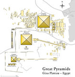 Pyramids of Giza Map. Illustration of the Giza Necropolis with the pyramids of Giza, the archeological site on the Giza Plateau. Vector map of all important Stock Image