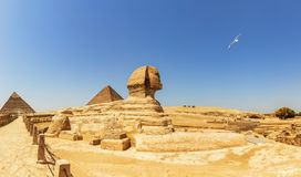 Pyramids of Giza panorama, view on the Sphinx, the Pyramid of Cheops and the Pyramid of Chephren.  stock photography