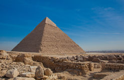 Front View of Great Pyramid with Rocks Stock Photo