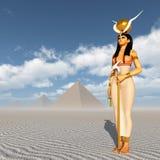 Pyramids and the goddess Hathor Stock Image