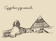 Pyramids Great Sphinx, Giza in Cairo Egypt sketch Stock Image