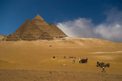 Pyramids group. Pyramids of Gizeh in the desert near Cairo Egypt royalty free stock photo