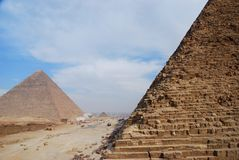 Pyramids of Khafre (Chephren) and Cheops. Giza, Eg. The Pyramid of Khafre, also known as the Pyramid of Chephren, is the second-tallest and second-largest of the stock photos