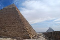 Pyramids of Khafre (Chephren) and Menkaure. Giza,. The Pyramid of Khafre, also known as the Pyramid of Chephren, is the second-tallest and second-largest of the royalty free stock image