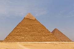 Pyramids of Khafre and Khufu. Against blue sky Royalty Free Stock Image