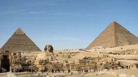 Pyramids of Khafre and Khufu and the Great Sphinx of Giza stock photography