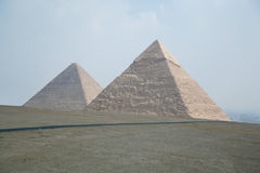 Pyramids of Khufu and Khafre Stock Images