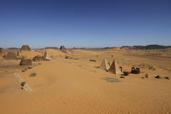 Pyramids of the Kushite rulers at Meroe. Ruined pyramids of Meroe, Sudan Stock Images