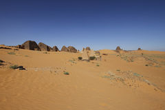 Pyramids of the Kushite rulers at Meroe. Ruined pyramids of Meroe, Sudan Royalty Free Stock Photos