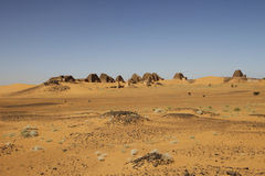 Pyramids of the Kushite rulers at Meroe. Ruined pyramids of Meroe, Sudan Royalty Free Stock Image