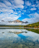 The Pyramids Lake in Rockies. The Pyramids Lake in Canadian Rockies. Cold autumn morning. Concept of vacation and tourism royalty free stock images