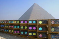 Pyramids with lights. This is the cheops pyramid in Egypt Stock Photos