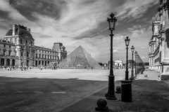 The pyramids of the Louvre Stock Photo