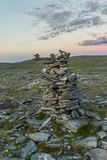 Pyramids made of stones, the island of Mageroya, Norway Royalty Free Stock Images