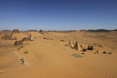 Pyramids of Meroe in the desert. Ruined pyramids of Meroe, Sudan Stock Image