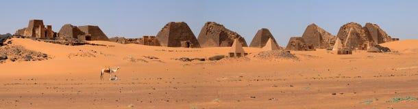 Pyramids of Meroe in the Sahara of Sudan Stock Photos