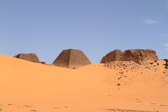 Pyramids of Meroe in the Sahara of Sudan Stock Images