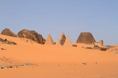 Pyramids of Meroe in the Sahara of Sudan Stock Photography